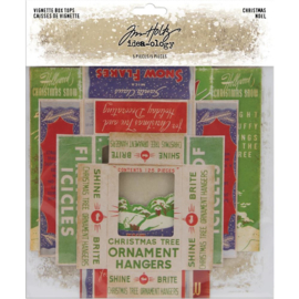 "Tim Holtz Idea-Ology Vignette Box Tops 5/Pkg Christmas 2.25""X3.25"" To 4""X5.5"""
