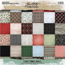 "Tim Holtz Idea-Ology Paper Stash Double-Sided Paper Pad 8""X8"" 24/Pkg Christmas, 12 Designs/2 Each"