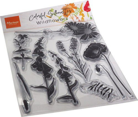 Marianne D Clear Stamps Colorful Silhouette - Wild Flowers CS1084