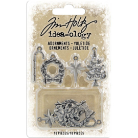 Tim Holtz Idea-Ology Metal Adornments 10/Pkg Antique Nickel Yuletide