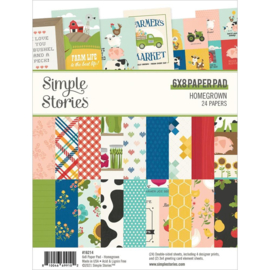 """Simple Stories Double-Sided Paper Pad 6""""X8"""" 24/Pkg Homegrown preorder"""