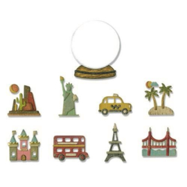 Sizzix Thinlits Die Set - 10PK Tiny Travel Globe 664182 Tim Holtz