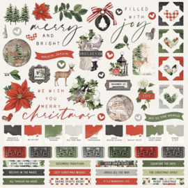 """Simple Stories Simple Vintage Rustic Christmas Cardstock Stickers 12""""X12"""" Combo"""