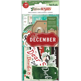 Vicki Boutin Warm Wishes Ephemera Cardstock Die-Cuts Journaling W/Foil Accents
