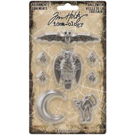 Tim Holtz Idea-Ology Metal Adornments 8/Pkg Antique Silver Halloween