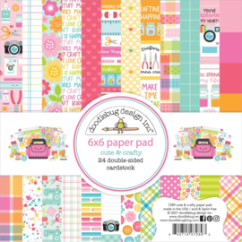 """Doodlebug Double-Sided Paper Pad 6""""X6"""" 24/Pkg Cute & Crafty, 12 Designs/2 Each preorder"""