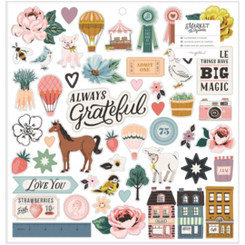 """Maggie Holmes Market Square Chipboard Stickers 12""""X12"""" Icons & Phrase preorder"""