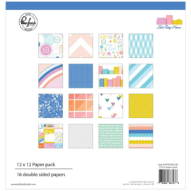 "Pinkfresh Studio Double-Sided Paper Pack 12""X12"" 16/Pkg Let's Stay Home, 8 Designs/2 Each"