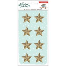 Crate Paper Busy Sidewalks Resin Stickers 8/Pkg Stars W/Gold Glitter Preorder