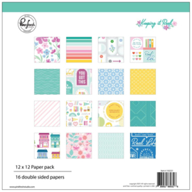 """PinkFresh Studio Double-Sided Paper Pack 12""""X12"""" 16/Pkg Keeping It Real, 8 Designs/2 Each"""