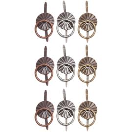"""Tim Holtz Idea-Ology Ring Fasteners .25"""" 9/Pkg Antique Nickel, Brass & Copper"""