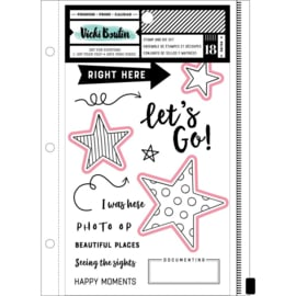 Vicki Boutin Mixed Media Stamps & Dies Let's Go W/Magnetic Sheet & Pouch