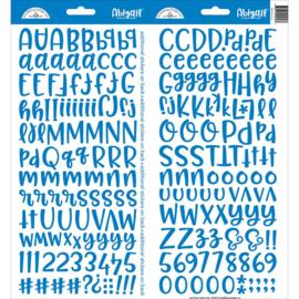 """Doodlebug Abigail Font Cardstock Alpha Stickers 6""""X13"""" 2/Pkg Blue Jean"""