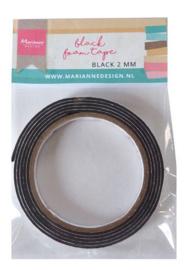 Marianne D zwart foam tape - 2 mm (12mmx2mtr) zelfklevend dz LR0027