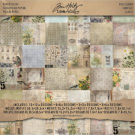 "Tim Holtz Idea-Ology Paper Stash Double-Sided Paper Pad 12""X12"" 36/Pkg Wallflower"