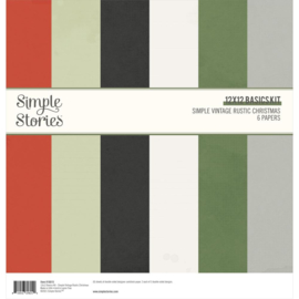 """Simple Stories Basics Double-Sided Paper Pack 12""""X12"""" 6/Pkg Simple Vintage Rustic Christmas"""