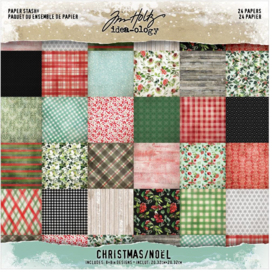 """Tim Holtz Idea-Ology Paper Stash Double-Sided Paper Pad 8""""X8"""" 24/Pkg Christmas, 12 Designs/2 Each preorder"""