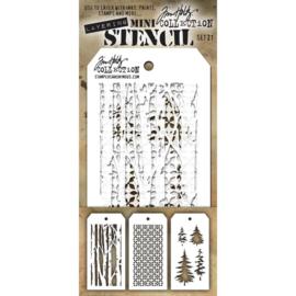 Tim Holtz Mini Layered Stencil Set 3/Pkg Set #50