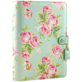 "Webster's Pages Color Crush A5 Faux Leather 6-Ring Planner Binder 7.5""X10"" Mint Floral"