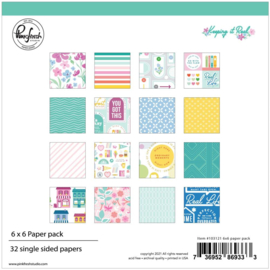 "PinkFresh Studio Single-Sided Paper Pack 6""X6"" 32/Pkg Keeping It Real, 16 Designs/2 Each"