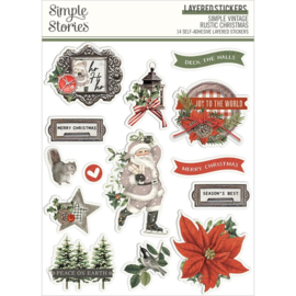 Simple Stories Simple Vintage Rustic Christmas Layered Stickers 14/Pkg