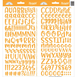 """Doodlebug Abigail Font Cardstock Alpha Stickers 6""""X13"""" 2/Pkg Tangerine"""