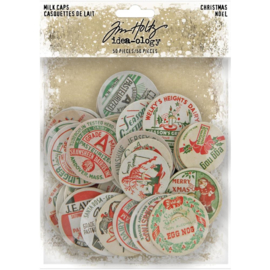 "Tim Holtz Idea-Ology Chipboard Milk Caps 50/Pkg Christmas, 1"" To 1.625"""