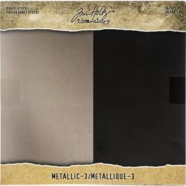 "Tim Holtz Idea-Ology Paper Stash Kraft Metallic Paper Pad 8""X8"" 36/Pkg"
