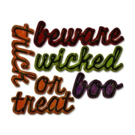 Sizzix Thinlits Die set - Shadow Script Halloween 12PK 663093 Tim Holtz