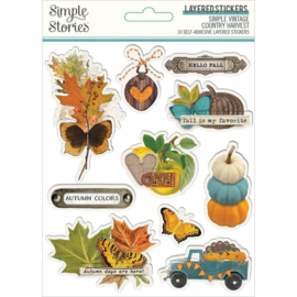 Simple Stories Simple Vintage Country Harvest Layered Stickers 10/Pkg preorder