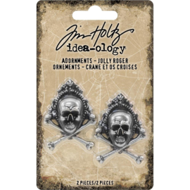 "Tim Holtz Idea-Ology Metal Adornments 1""X1.5"" 2/Pkg Antique Nickel Jolly Roger"