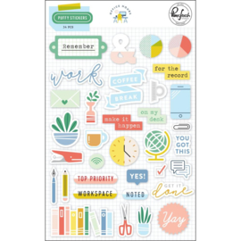 Pinkfresh Puffy Stickers Office Hours, 34/Pkg