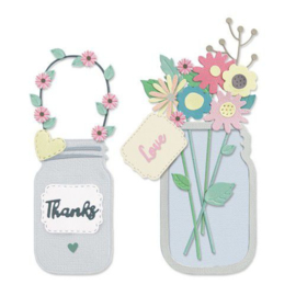 Sizzix Thinlits Die Set - 17PK Jar of Flowers (works with 664857) 665079 Lisa Jones PREORDER