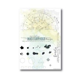 "MP Design Clearstamp 4×6″ – ""Blueprint Splatters"""