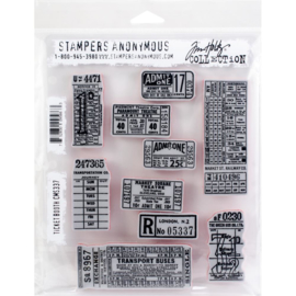 "Tim Holtz Cling Stamps 7""X8.5"" Ticket Booth"