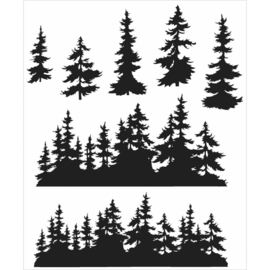 """Tim Holtz Cling Stamps 7""""X8.5"""" Tree Line"""