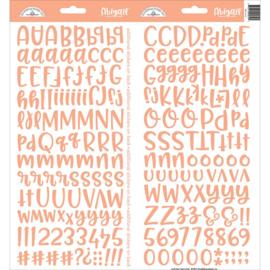 """Doodlebug Abigail Font Cardstock Alpha Stickers 6""""X13"""" 2/Pkg Coral"""
