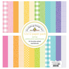 "Doodlebug Petite Prints Double-Sided Cardstock 12""X12"" 12/Pk Spring, 12 Designs/1 Each"