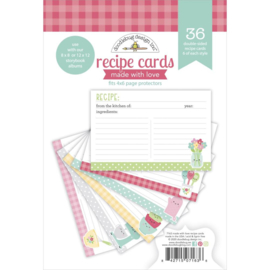 """Doodlebug Double-Sided Paper Pad 6""""X6"""" 36/Pkg Made With Love Recipe Cards, 6 Designs"""