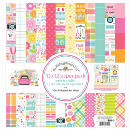 """Doodlebug Double-Sided Paper Pack 12""""X12"""" 12/Pkg Cute & Crafty preorder"""