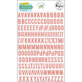 PinkFresh Puffy Mini Alpha Stickers Office Hours, Coral, 164/Pkg