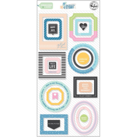 PinkFresh My Favorite Story Chipboard Frames & Accent Stickers