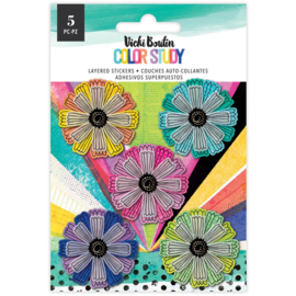 Vicki Boutin Color Study Layered Stickers 5/Pkg Flowers