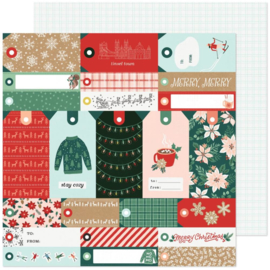 """Crate Paper Busy Sidewalks Double-Sided Cardstock 12""""X12"""" Merry Merry"""
