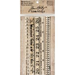 "Tim Holtz Idea-Ology Wooden Ruler Pieces 5/Pkg .5""X6"""