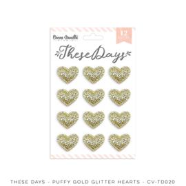 Cocoa Vanilla CV-TD020 THESE DAYS – GOLD GLITTER PUFFY HEARTS preorder