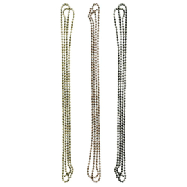 "Tim Holtz Idea-Ology Ball Chains 36"" 3/Pkg Each W/6 Connectors Antique Nickel, Brass & Copper"