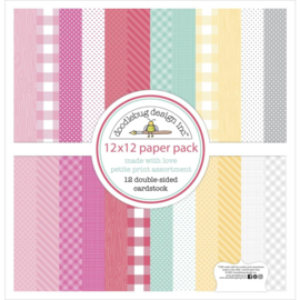 "Doodlebug Petite Prints Double-Sided Cardstock 12""X12"" 12/Pk Made With Love, 12 Designs/1 Each"