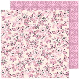 """Maggie Holmes Garden Party Double-Sided Cardstock 12""""X12"""" Pink Rose Buds"""