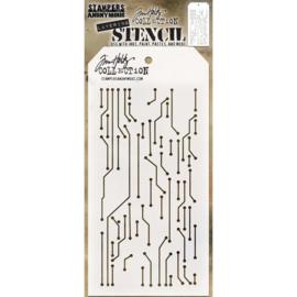 "Tim Holtz Layered Stencil 4.125""X8.5"" Circuit -Layered"